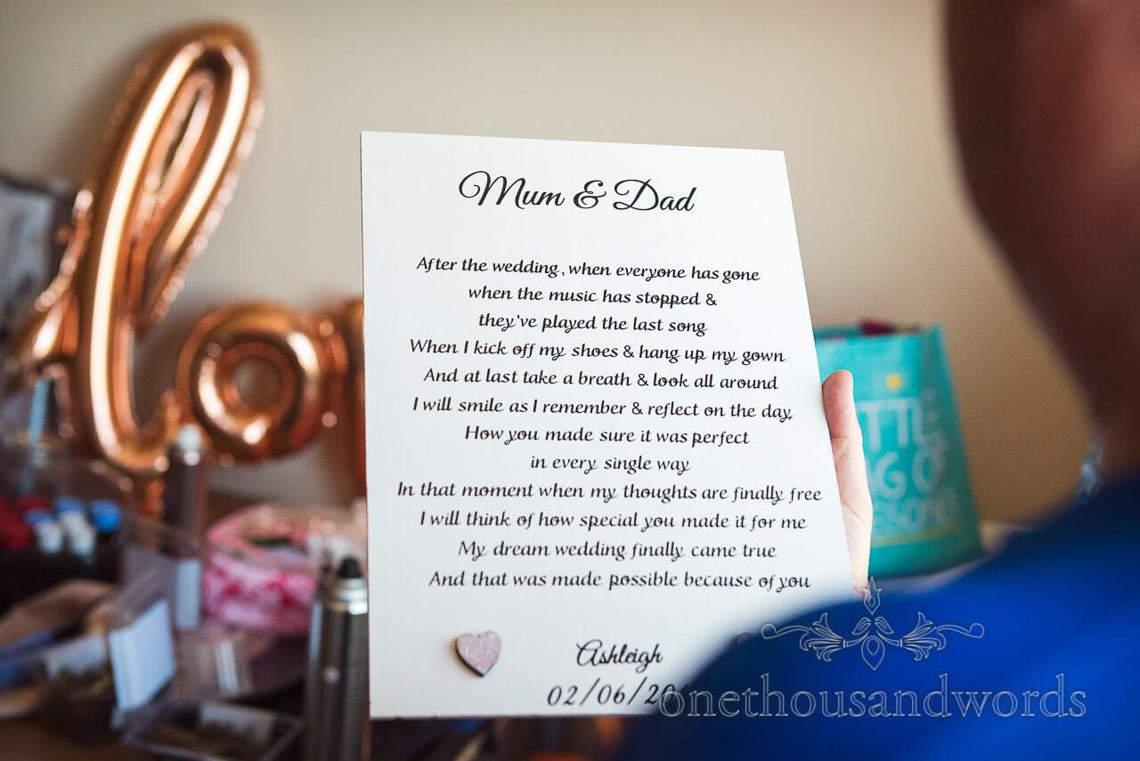 Printed message to Mum and Dad from bride from Swanage Wedding Photos
