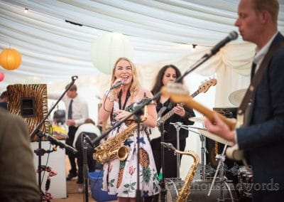 The Good Foot Band wedding band playing in countryside wedding marquee
