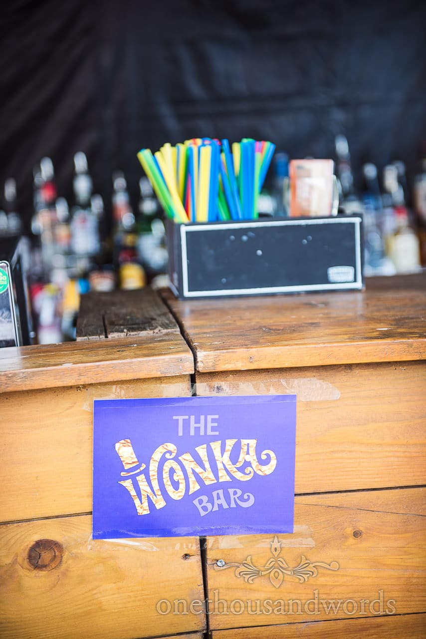 The Wonka Bar sign at Chocolate Themed Wedding Photographs