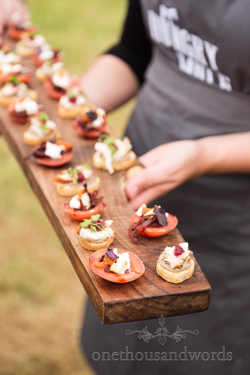 tomato, goats cheese and red pesto with ham wedding canapés