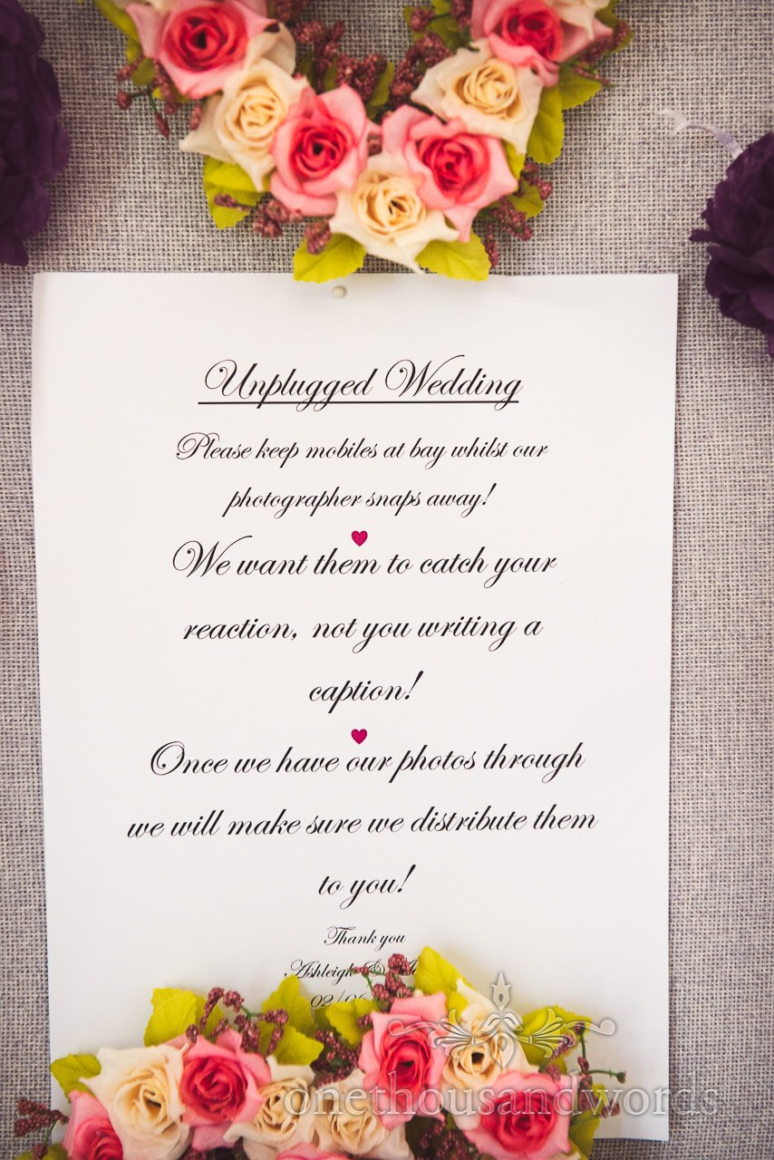 Unplugged wedding instructions for guests from Swanage wedding photos