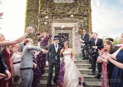 Weddign confetti at Chocolate Themed Wedding at Walton Castle wedding venue