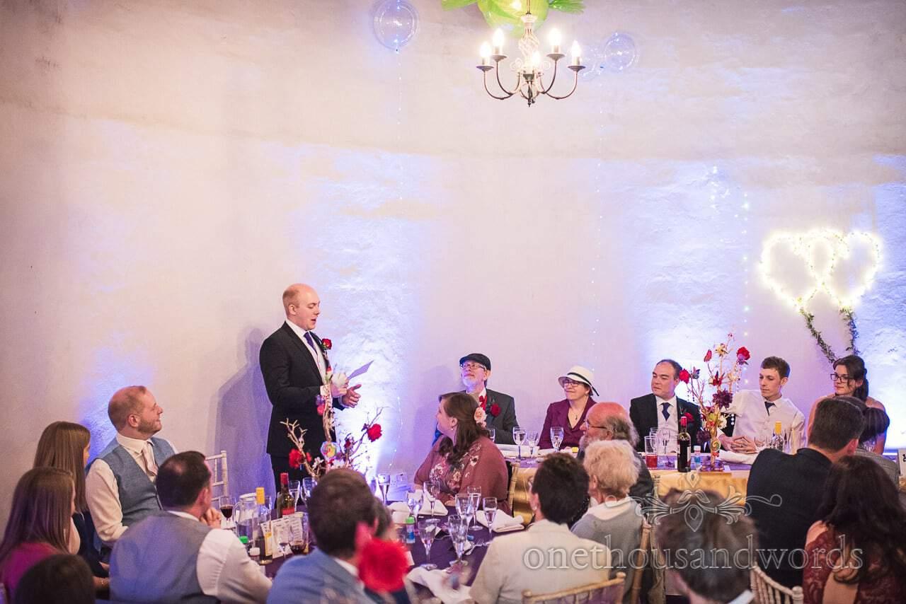 Wedding speeches by best man at Walton Castle wedding venue