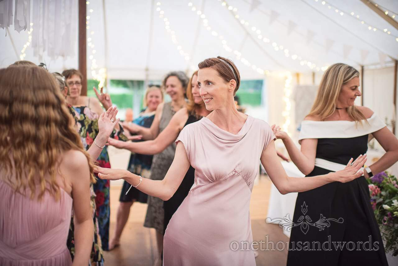 All the ladies on the dance floor at Countryside Manor House Wedding