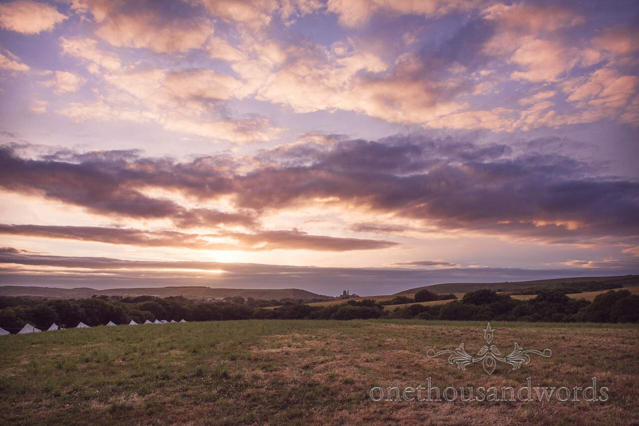 Amazing clouds at sunset from Purbeck Valley Farm Wedding Photographs