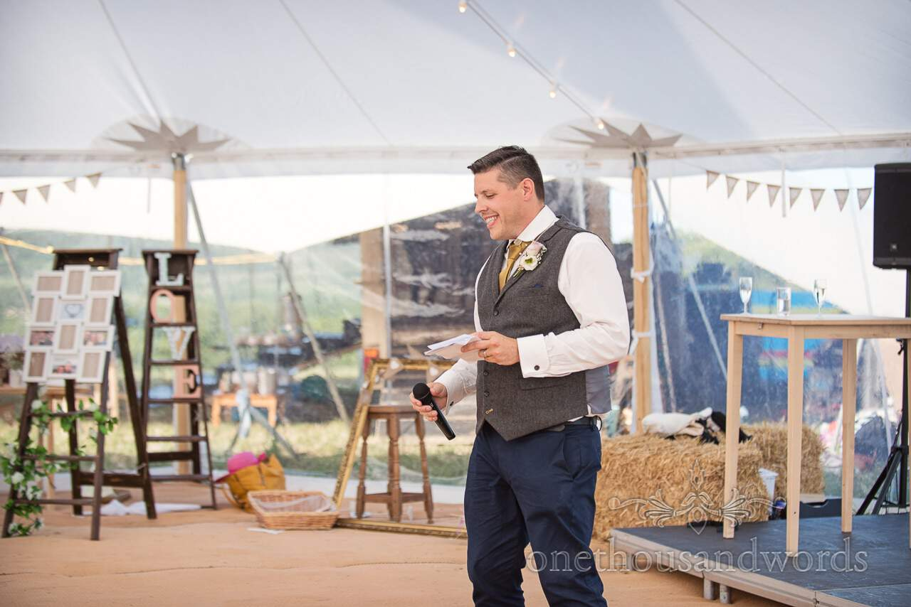 Best man delivering speech at Purbeck Valley Farm Wedding Photographs