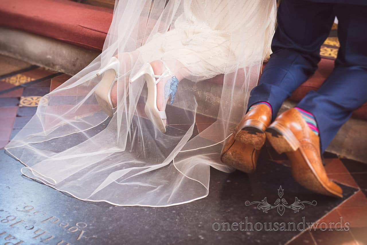 Bride and groom feet during blessing at Countryside Manor House Wedding