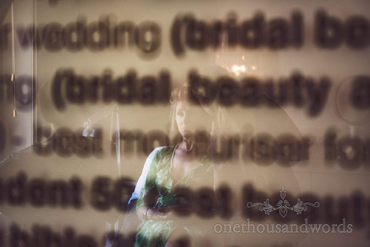 Bride reflection during preparations for Countryside Manor House Wedding