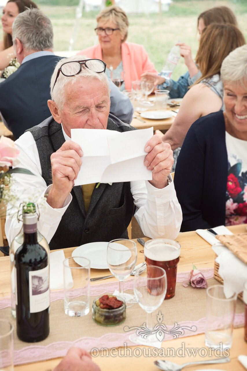 Father of the bride with speech from Purbeck Valley Farm Wedding Photographs