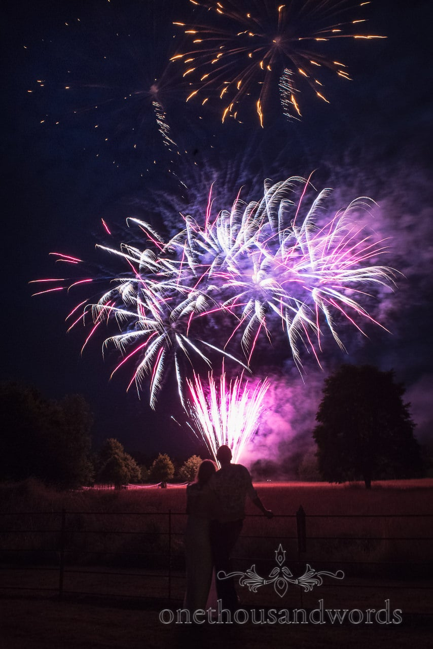 Fireworks light up the sky at Countryside Manor House Wedding