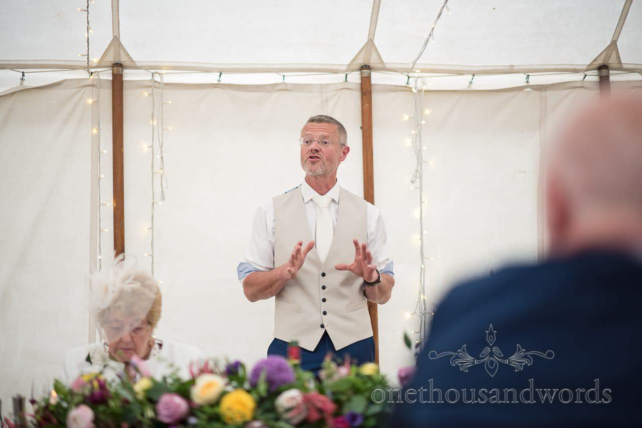 Groom delivers his speech from Countryside Manor House Wedding