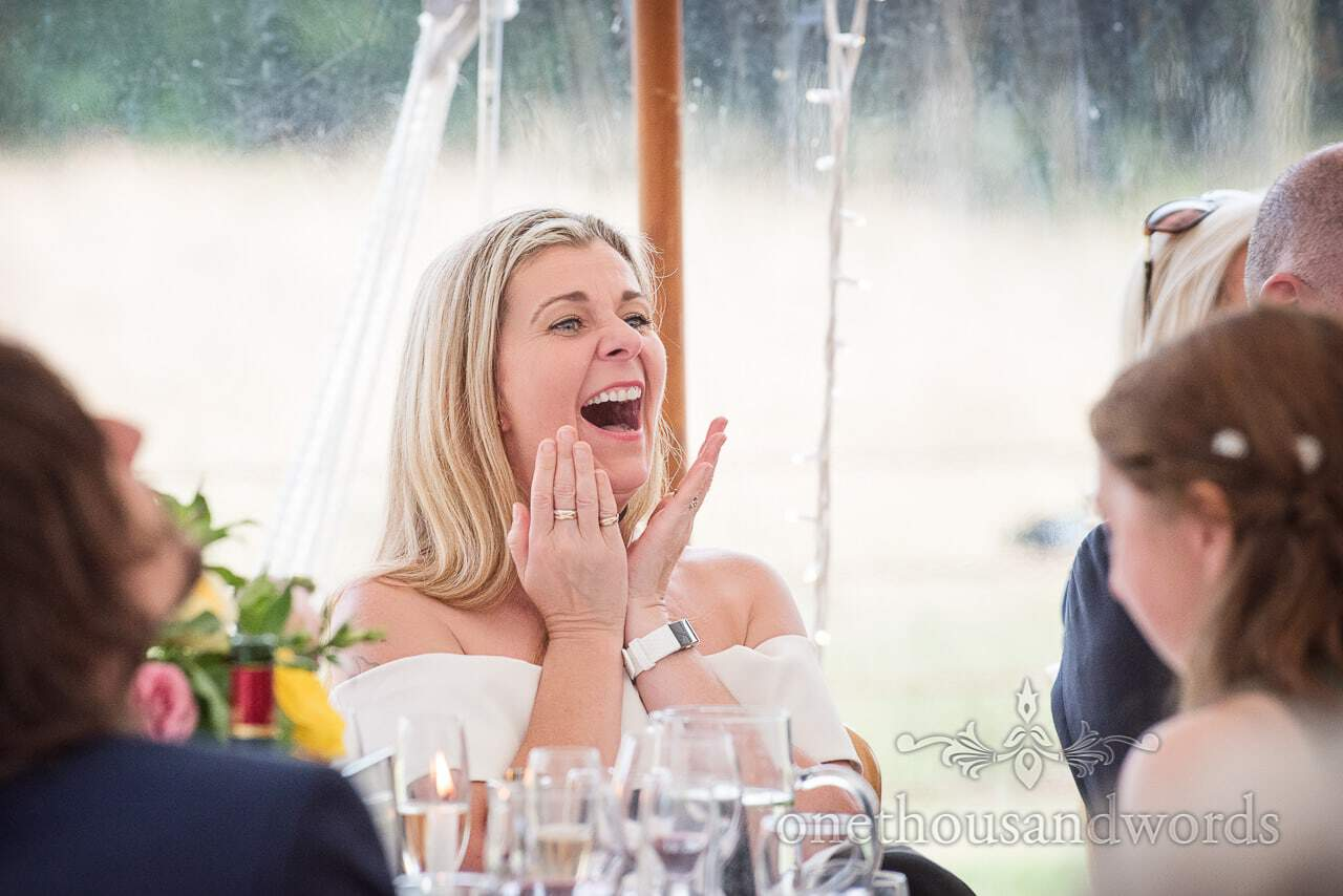 Guest reaction during speeches at Countryside Manor House Wedding