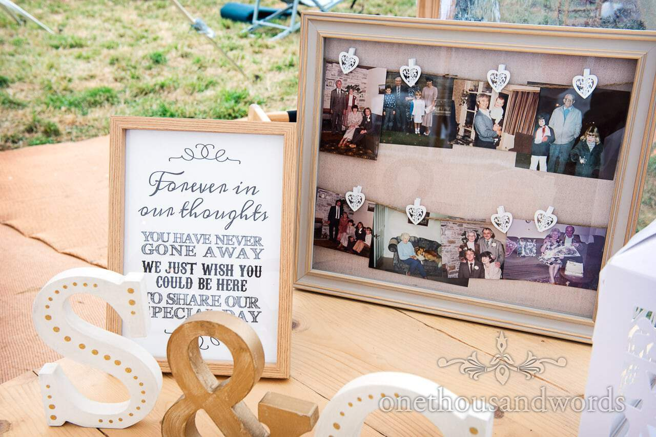 Message to absent friends from Purbeck Valley Farm Wedding Photographs