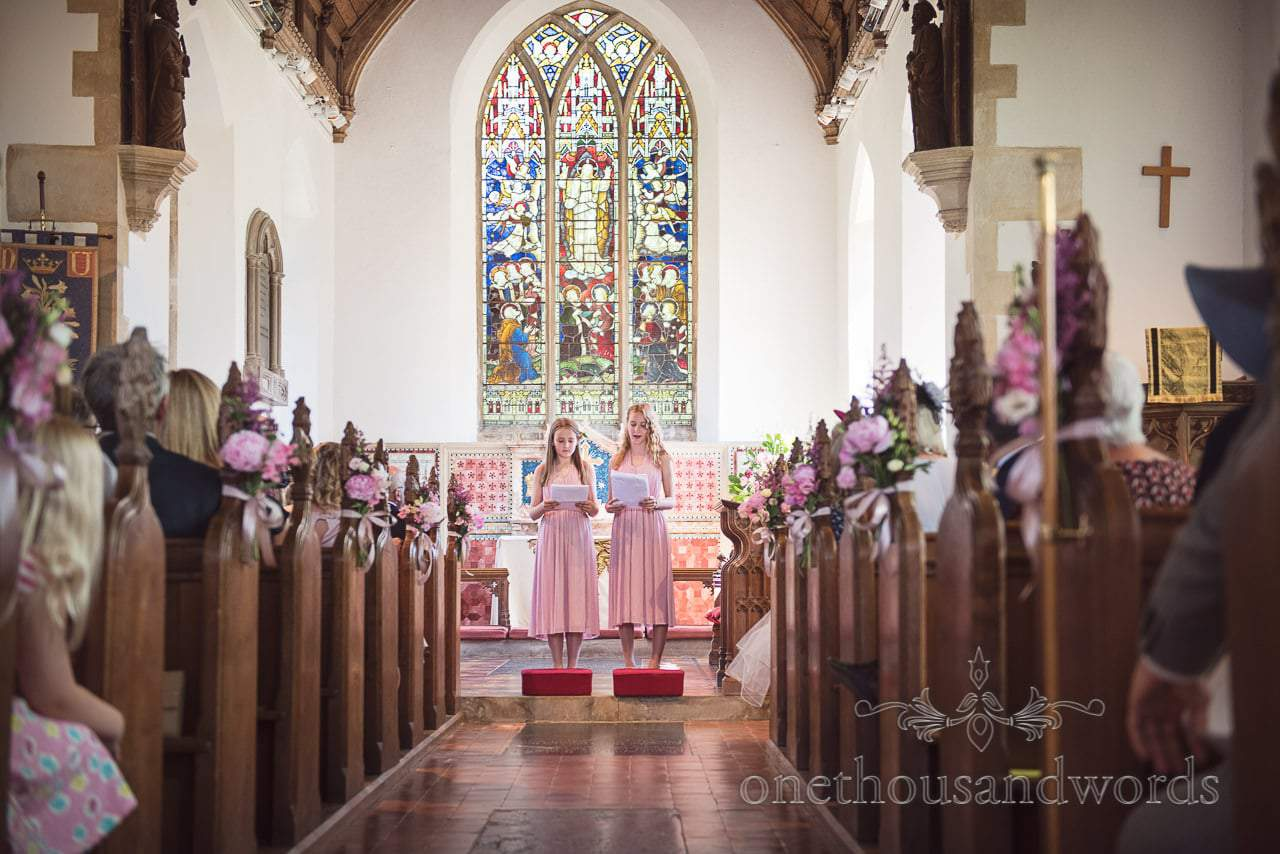 Nieces of the bride deliver reading from Countryside Manor House Wedding