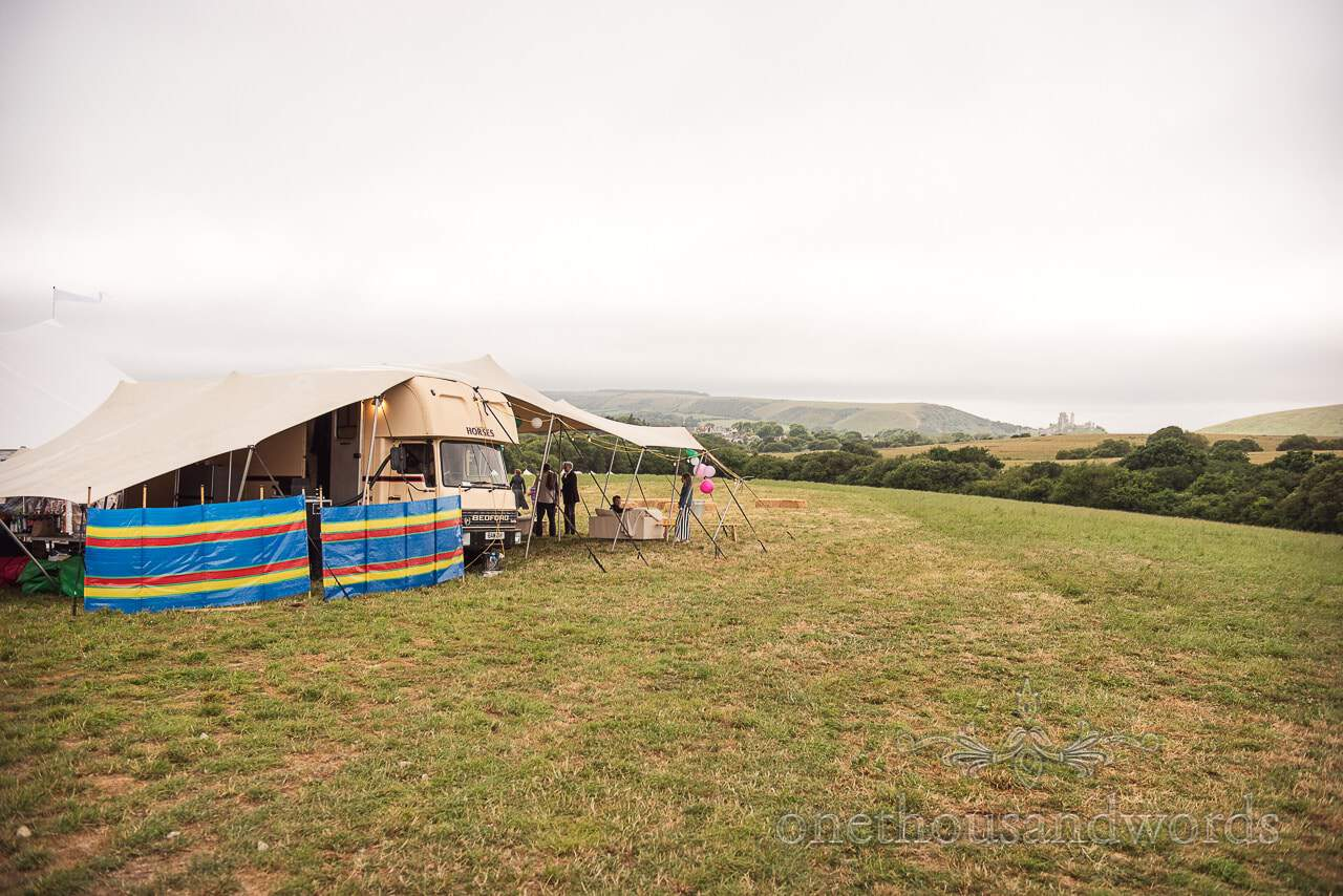 Purbeck Valley Farm Wedding Photographs of Boxpub mobile bar and Corfe castle