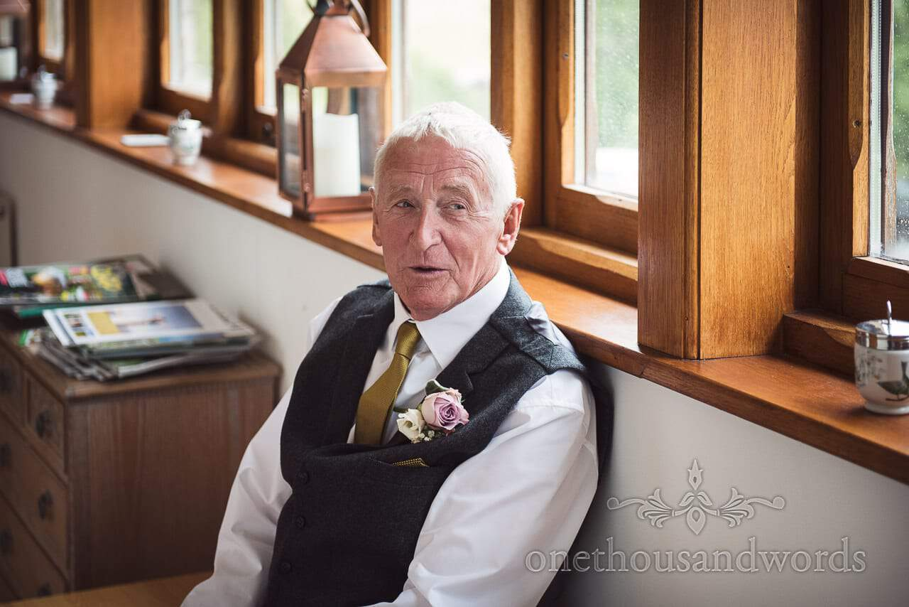Purbeck Valley Farm Wedding Photographs of father of the bride wait to see his daughter