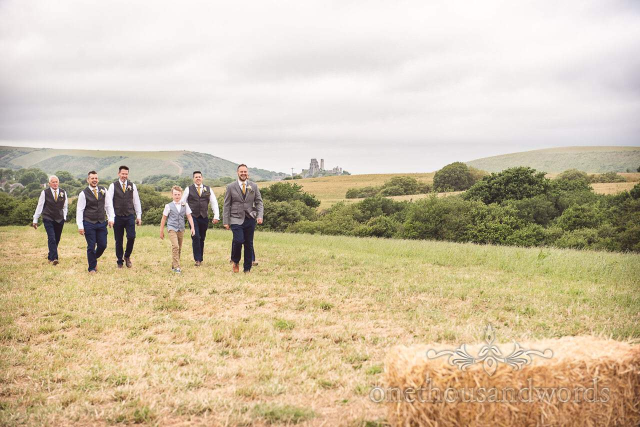 Purbeck Valley Farm Wedding Photographs of grooms party on way to ceremony