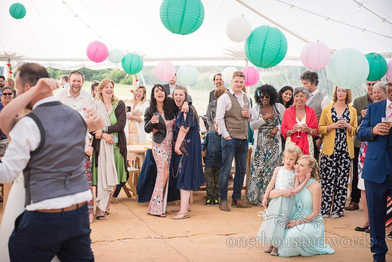 Purbeck Valley Farm Wedding Photographs of guest reaction during first dance