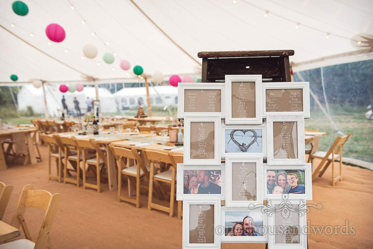 Purbeck Valley Farm Wedding Photographs of photo frame table plan