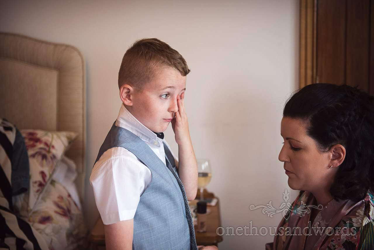 Purbeck Valley Farm Wedding Photographs of son in pale blue waistcoat