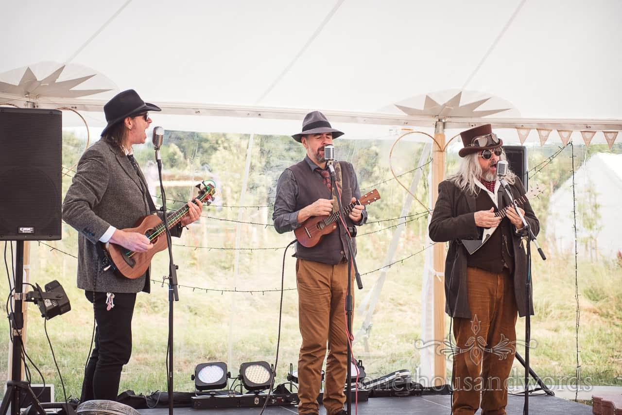 Purbeck Valley Farm Wedding Photographs of the Mother Ukers Ukulele band