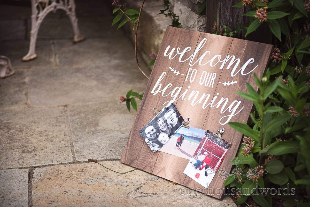 Purbeck Valley Farm Wedding Photographs of welcome signage in garden