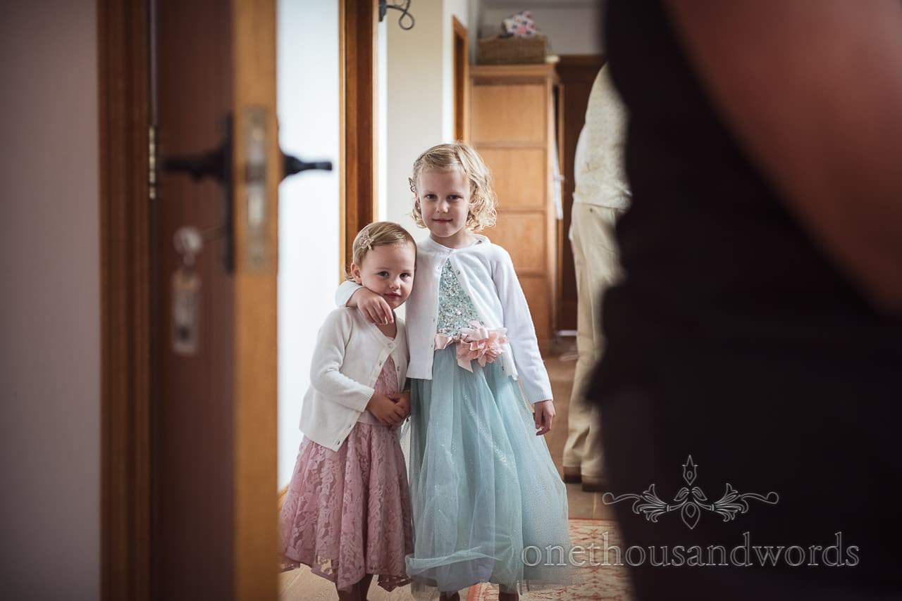 Purbeck Valley Farm Wedding Photographs of young guests during morning