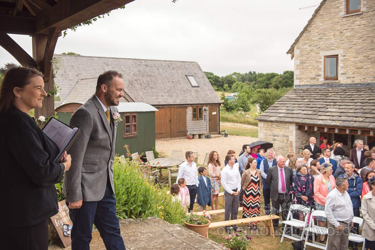 Purbeck Valley Farm Wedding Photographs the moment the groom sees the bride