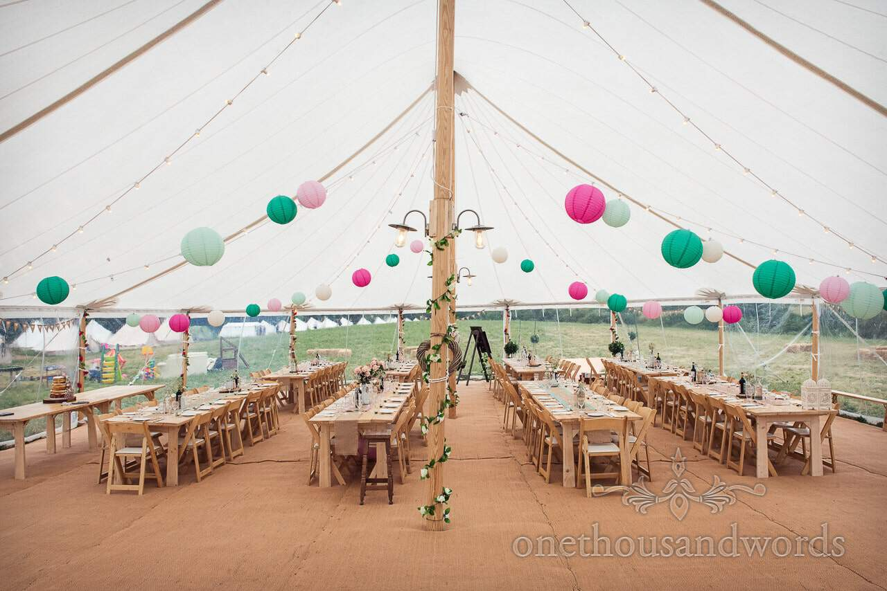 Purbeck Valley Farm Wedding Photographs of decorated sailcloth marquee