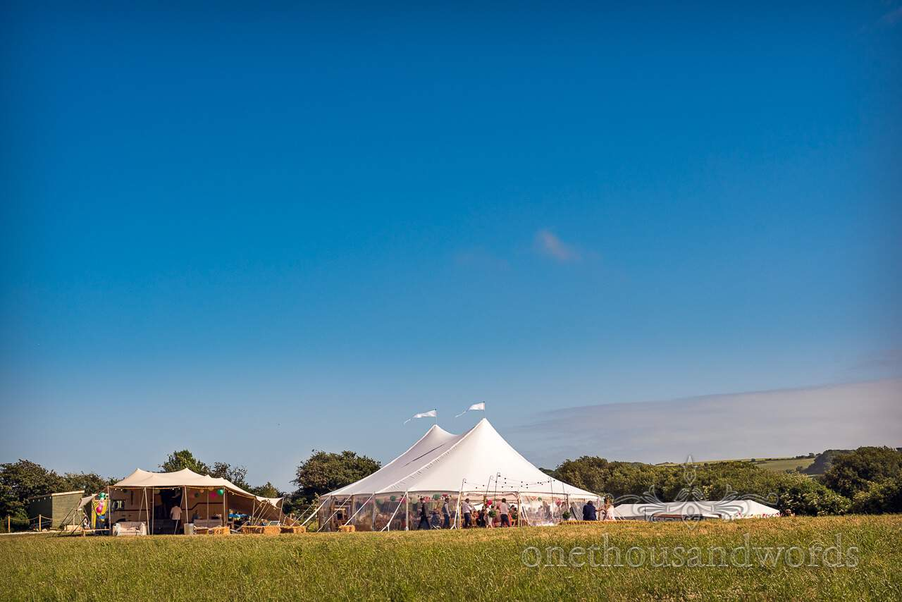 Purbeck Valley Farm Wedding with sailcloth tent and Boxpub mobile bar