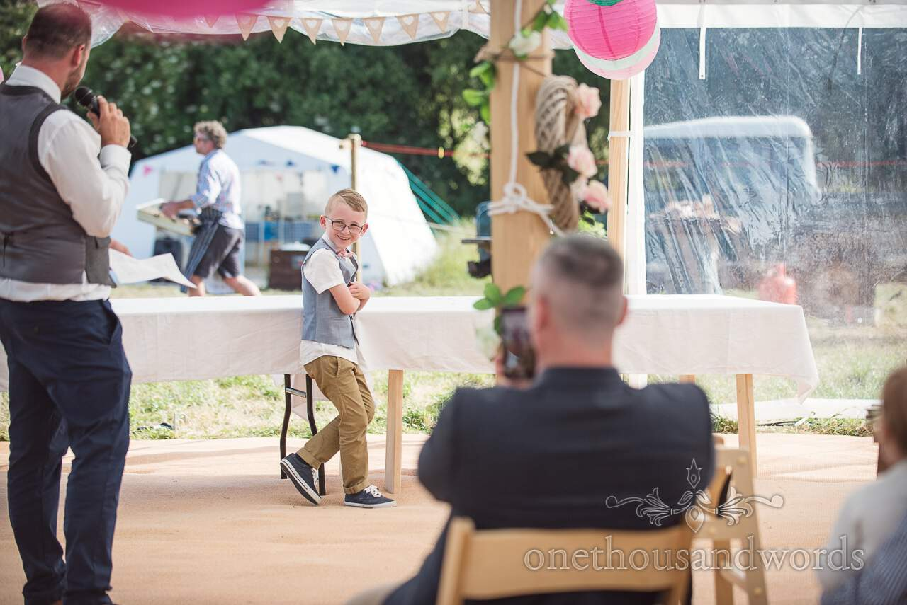 Son gets a mention during grooms speech at Purbeck Valley Farm Wedding Photographs