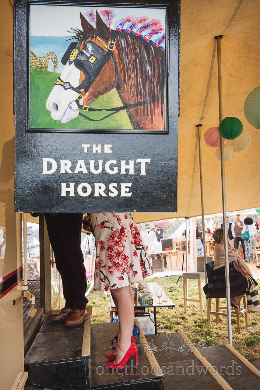 The Draught horse Boxpub mobile bar sign from Purbeck Valley Farm Wedding Photographs