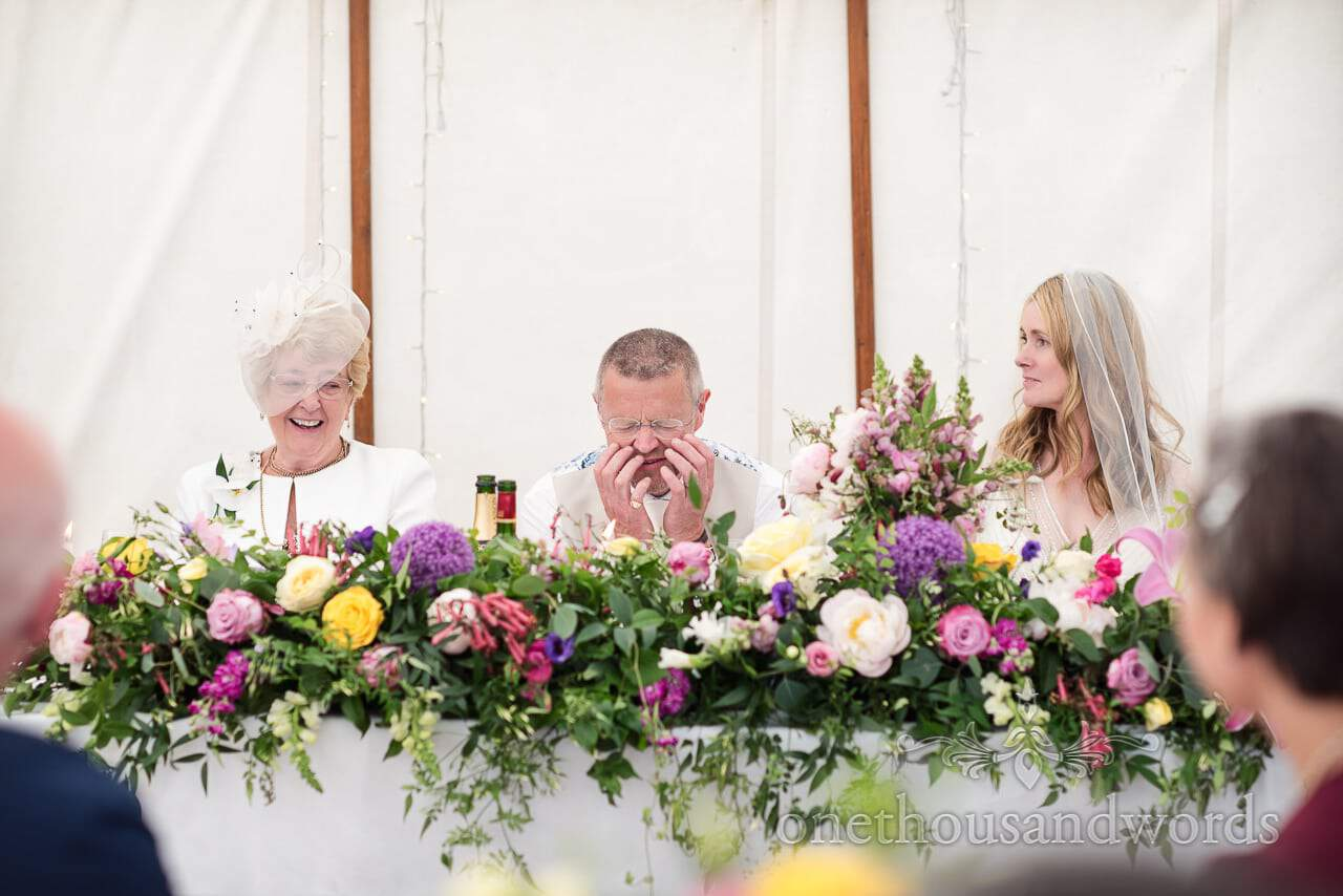 Top table reaction to speech at Countryside Manor House Wedding