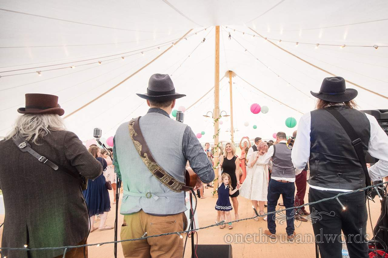 Ukulele band the Mother Ukers perform at Purbeck Valley Farm Wedding Photographs