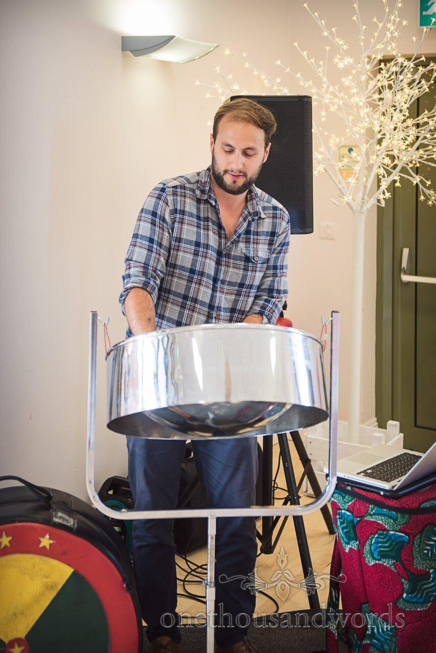 Alex Clifton steel drum musical wedding entertainment at Village Hall Wedding