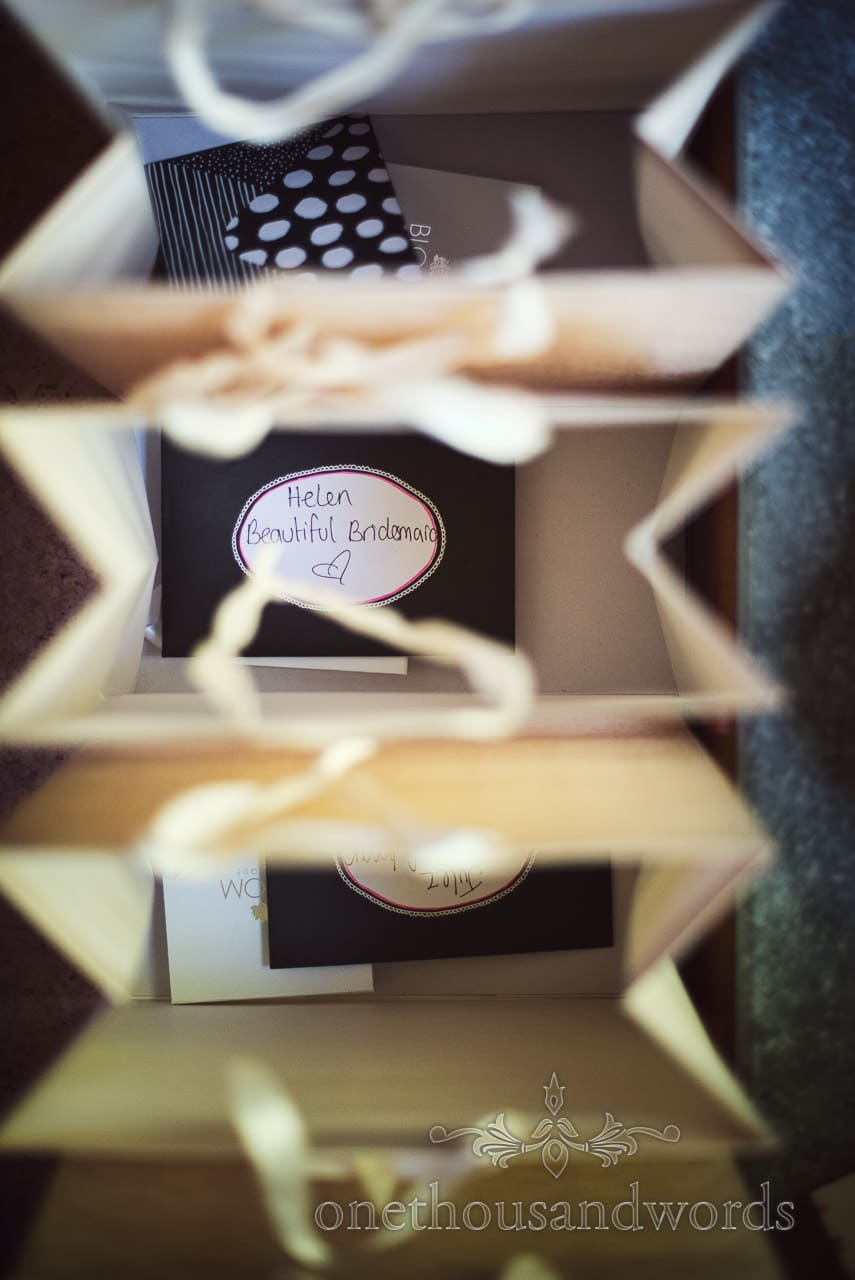 Bags of bridesmaid gifts from Purbeck Courtyard Wedding