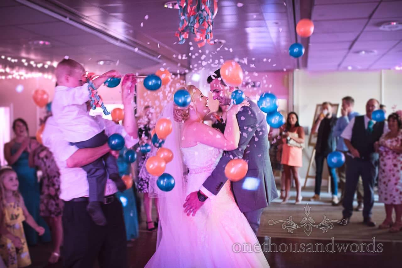 Balloon release on the dance floor at RNLI College Wedding disco