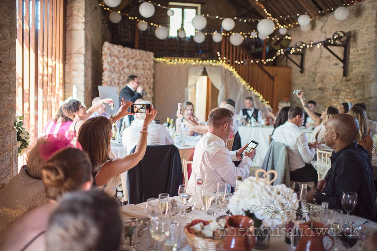 Best man calls for wedding wide selfie at Purbeck Courtyard Wedding