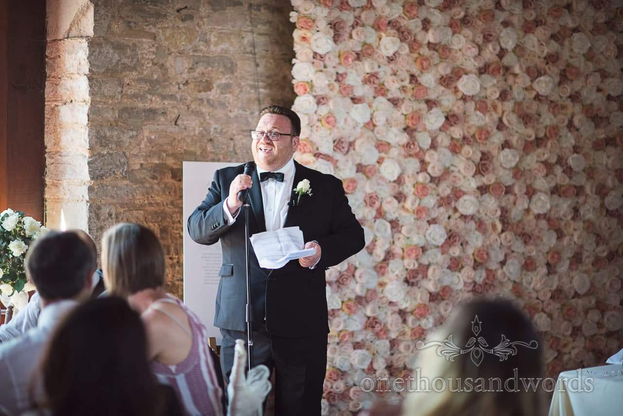 Best man delivers speech at Purbeck Courtyard Wedding