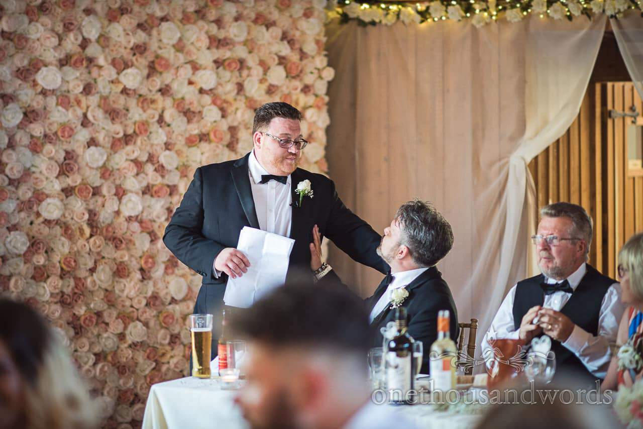 Best men during speeches at Country Courtyard Wedding