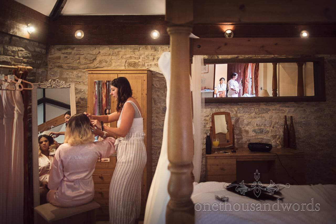 Bride and bridesmaid reflections from Country Courtyard Wedding