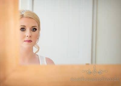 Bride in mirror on morning of church Wedding Photographs