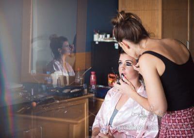 Bridesmaid has make-up styled on wedding morning at Sandbanks Hotel