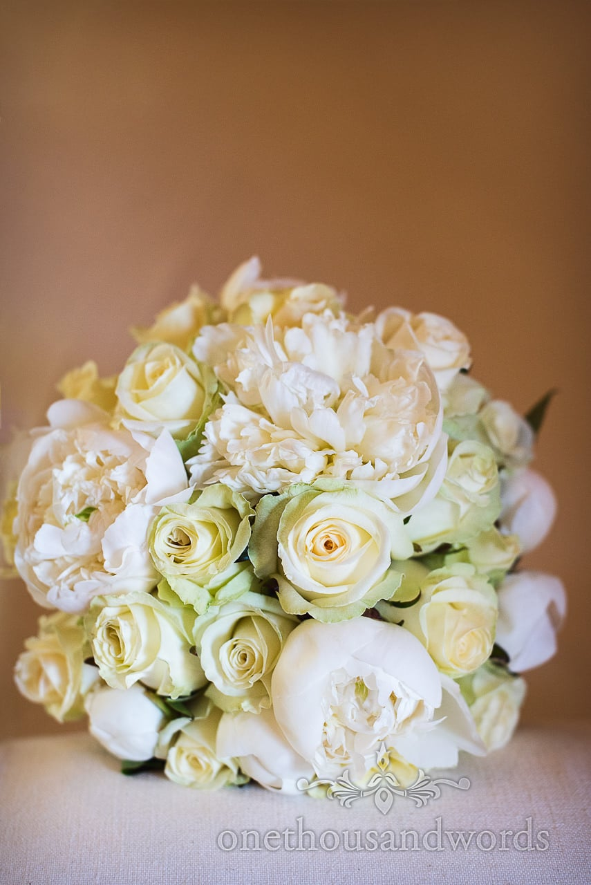 Cream rose and white flower wedding bouquet from Bloom florist in Swanage, Dorset