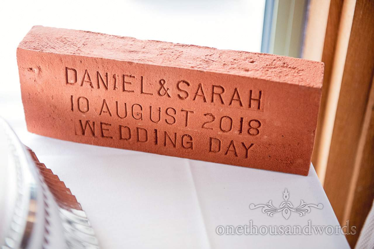 Custom cast wedding red house brick unusual wedding idea with couples names