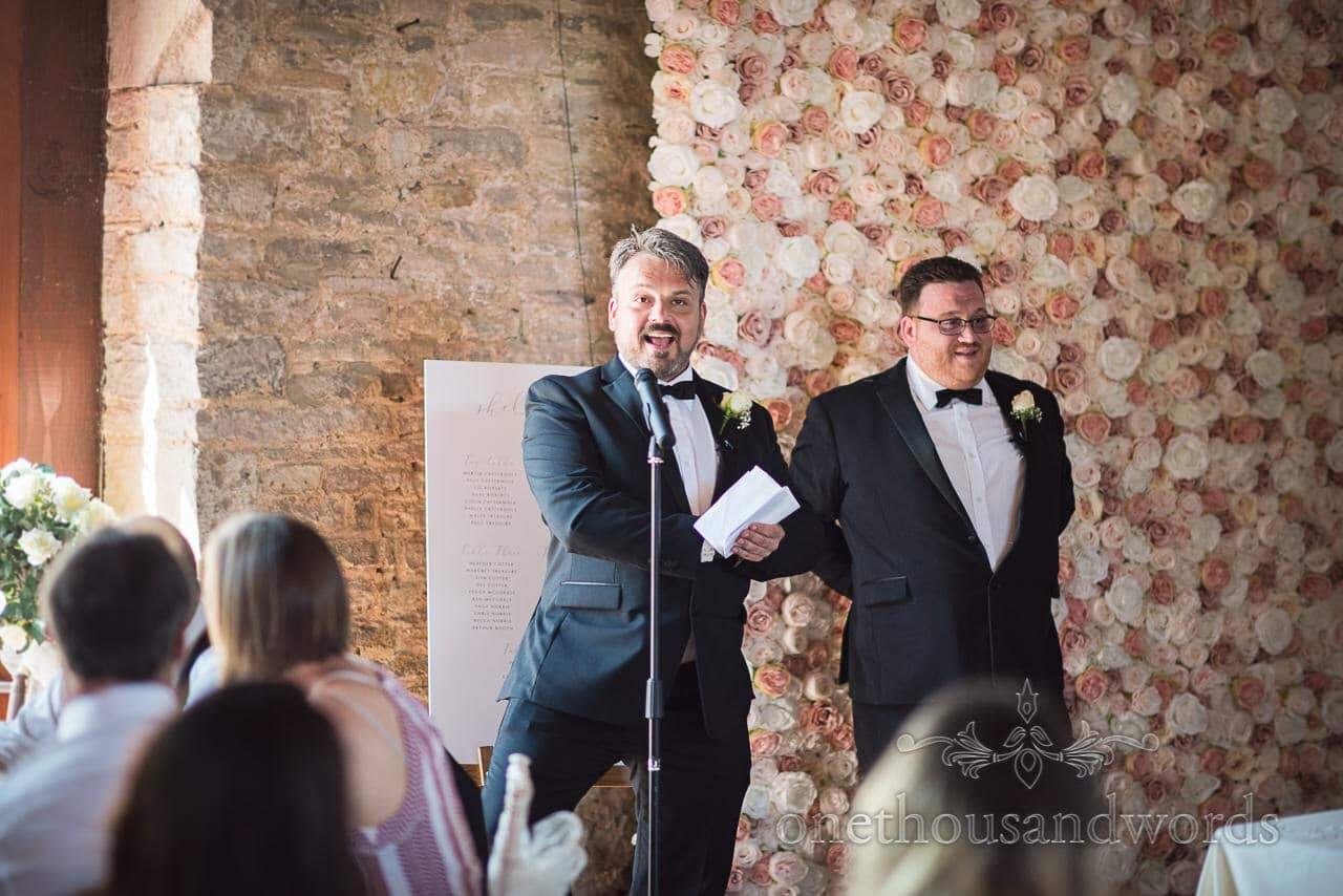 Double act best men speech is delivered at Country Courtyard Wedding
