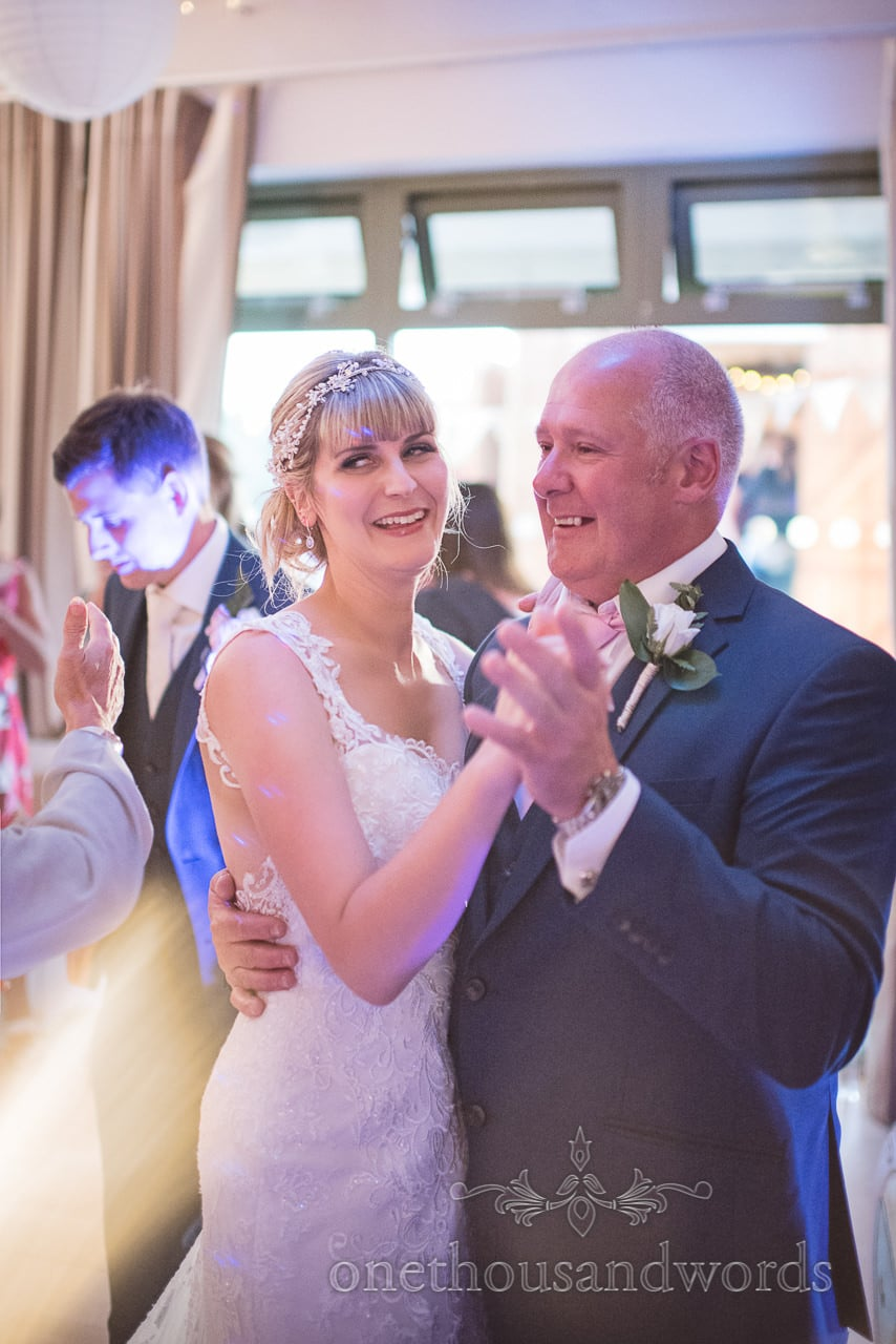 Father of the bride dance at Harmans Cross Village Hall wedding venue in Dorset