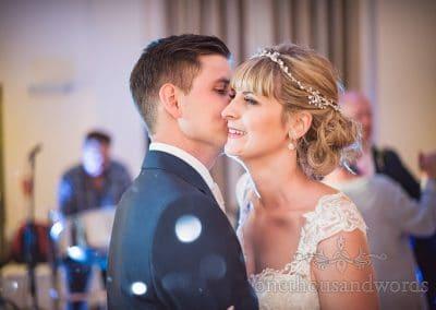 First dance wedding kiss at Harmans Cross Village Hall Wedding Photographs