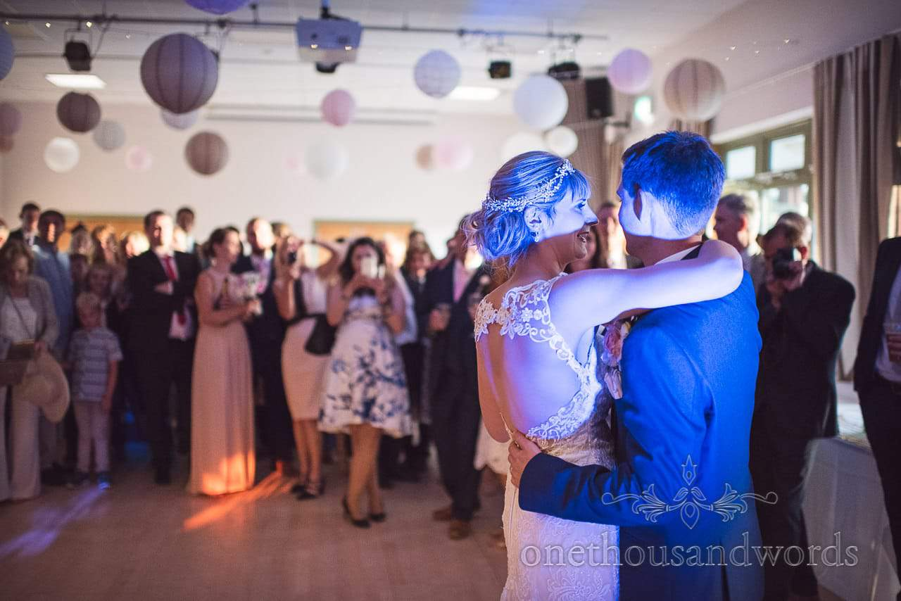 First dance with blue light at Harmans Cross Village Hall Wedding Photographs