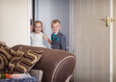 Flower girl and page boy on morning of RNLI College Wedding